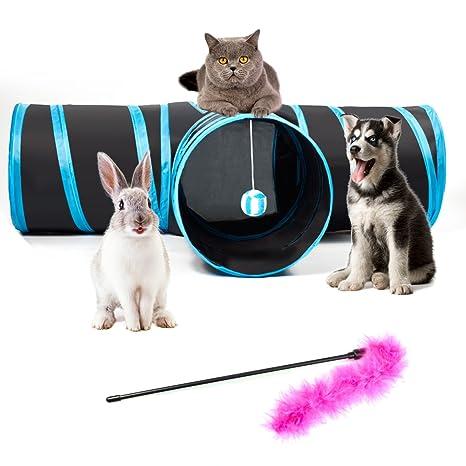 feezen Túnel de 3 vías para gatos, plegable, mascotas,