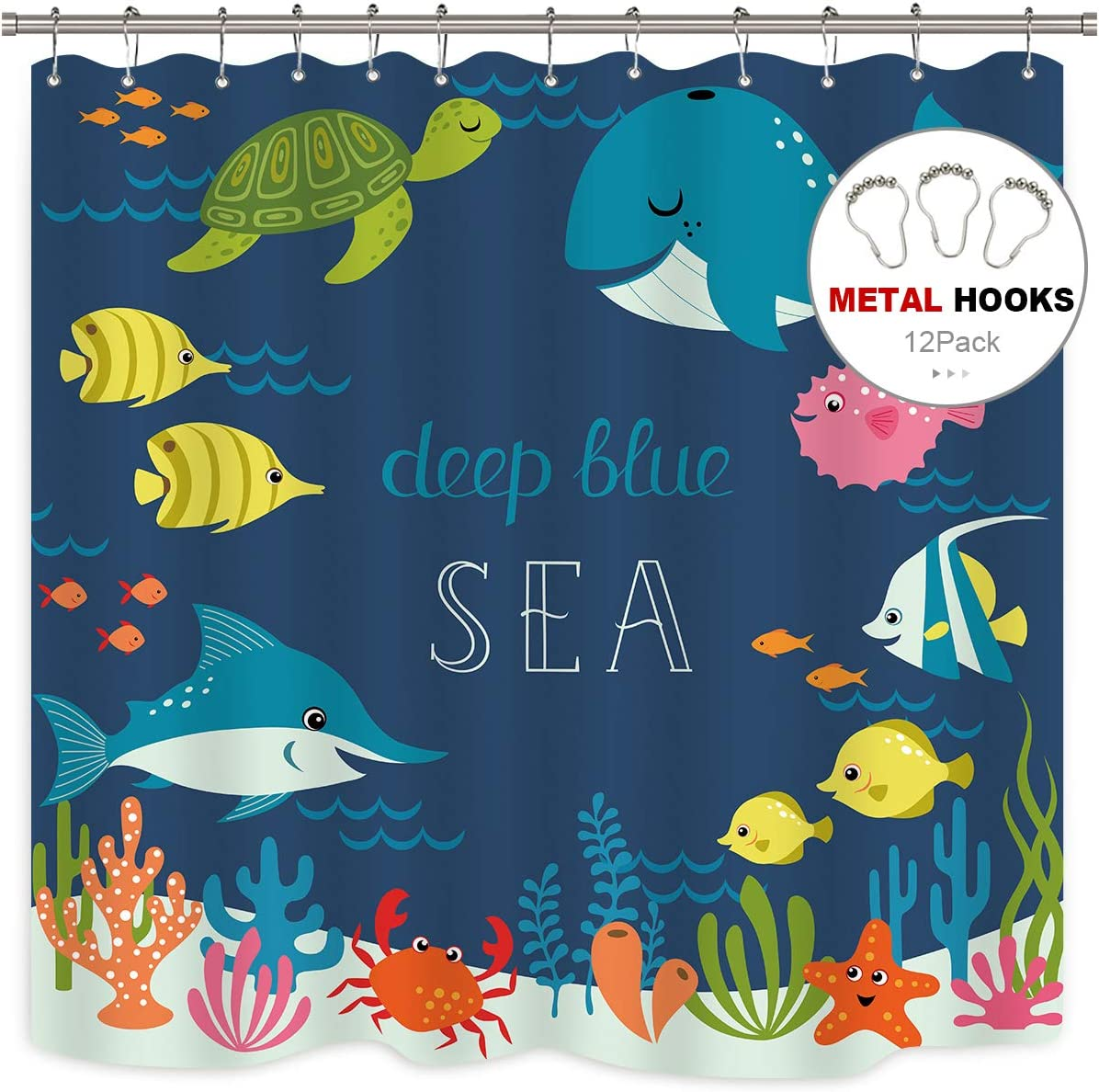 Riyidecor Ocean Fish Shower Curtain Kids Cartoon Underwater Sea Animal Boys Girls Starfish Sea Turtle Decor 12 Pack Metal Hooks Fabric 72x72 Inch Bathroom Kitchen Dining