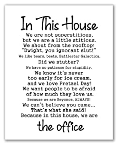 """In This House The Office Poster - 11"""" x 14"""" - Unframed, Office Tv Show Print, Home Decor, House Warming Gift, In This House Office Poster, Motivational, Inspirational quote, Office Decor"""