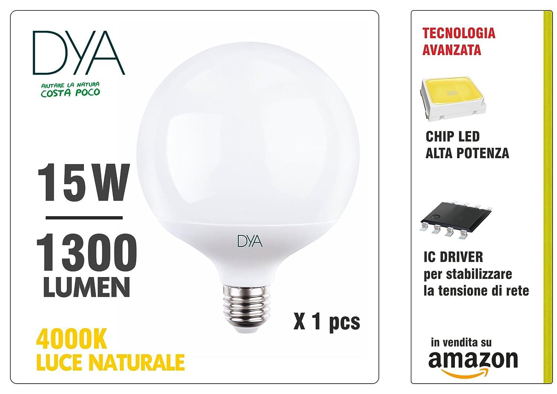 Lámpara LED Globo de 15 W, casquillo E27,luz natural 4000K,1300...