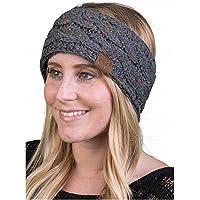 REGOU Crochet Head Wrap Womens Ear Warmers Headbands Winter Warm Fuzzy Cable Knit Head Wrap Gifts