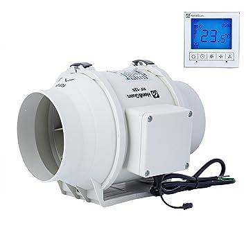 Honu0026Guan Rohrventilator Abluftventilator Mit Timer Und Hygrostat Für Zimmer  Badezimmer Küche (Ø125mm)