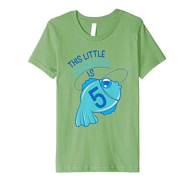 Kids 5th Birthday Boys Fishing T Shirt Fish 5 Year Old 4 Grass
