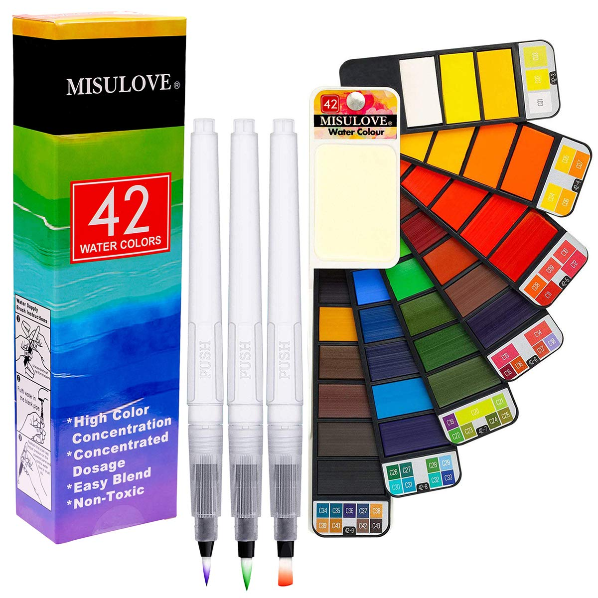 MISULOVE Superior Foldable Watercolor Paint Set - 42 Colors with 3 Watercolor Brushes Pens, Professional Travel Pocket Watercolor Kit for Field Sketch Set Outdoor Painting by MISULOVE