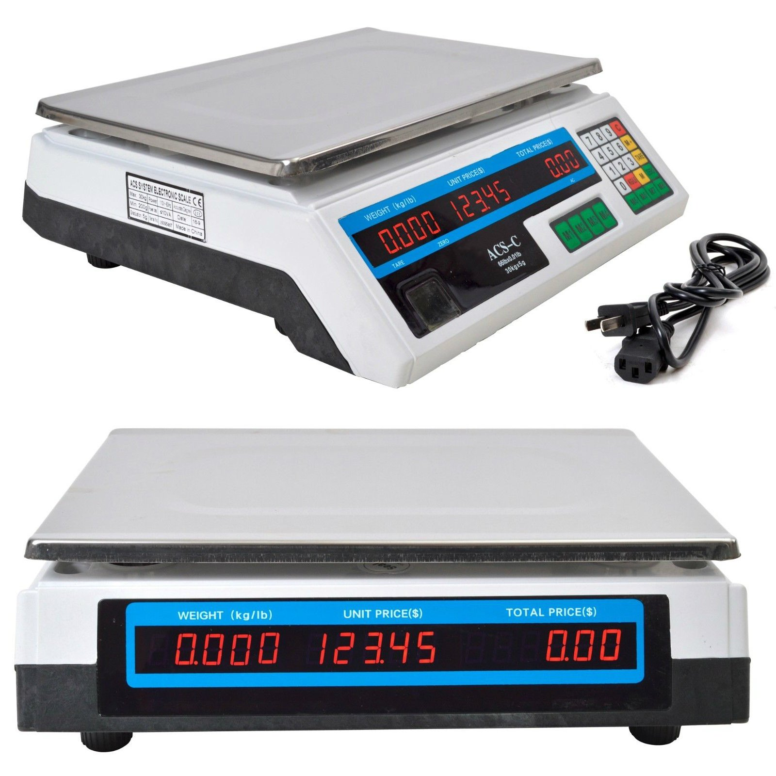 66LB/30KG Food Deli Scale   Food Meat Price Computing Digital Display Weight Scale ACS Electronic Counter Supermarket Price Scale Outlet Store