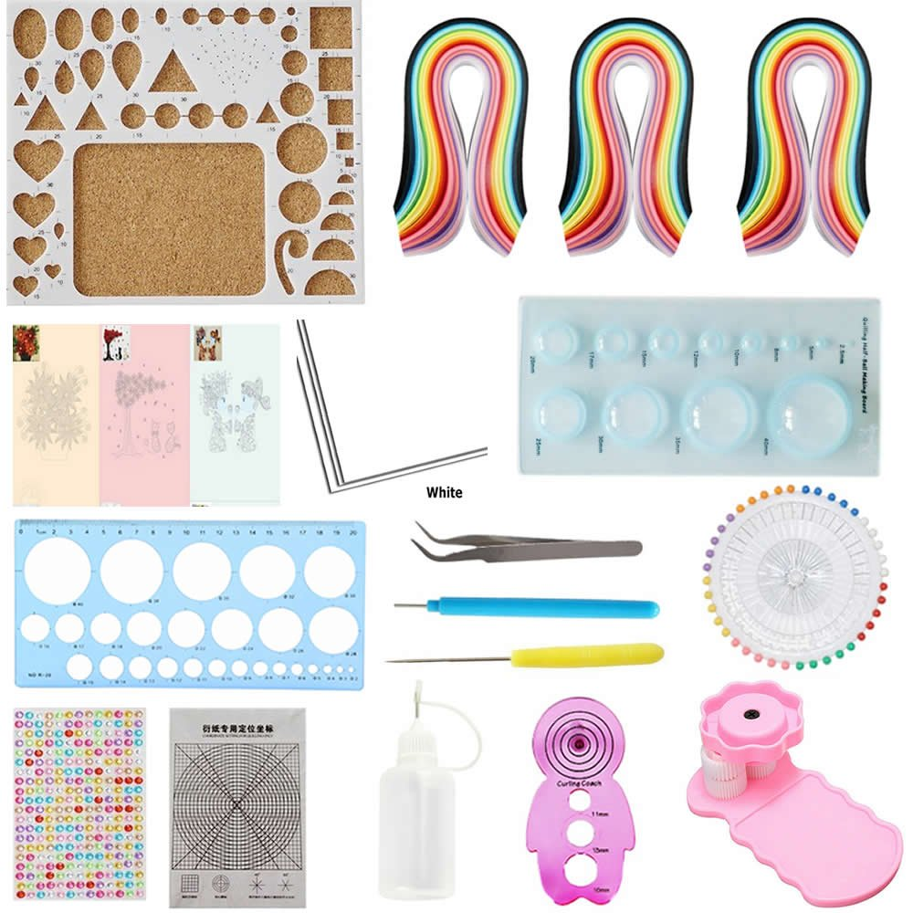Quilling Kit & Paper Set 17pcs/set 780 Sheets Color Paper DIY Handcraft Paper and Tool set(Paper 3mm/5mm/7mm) by BAIYUN