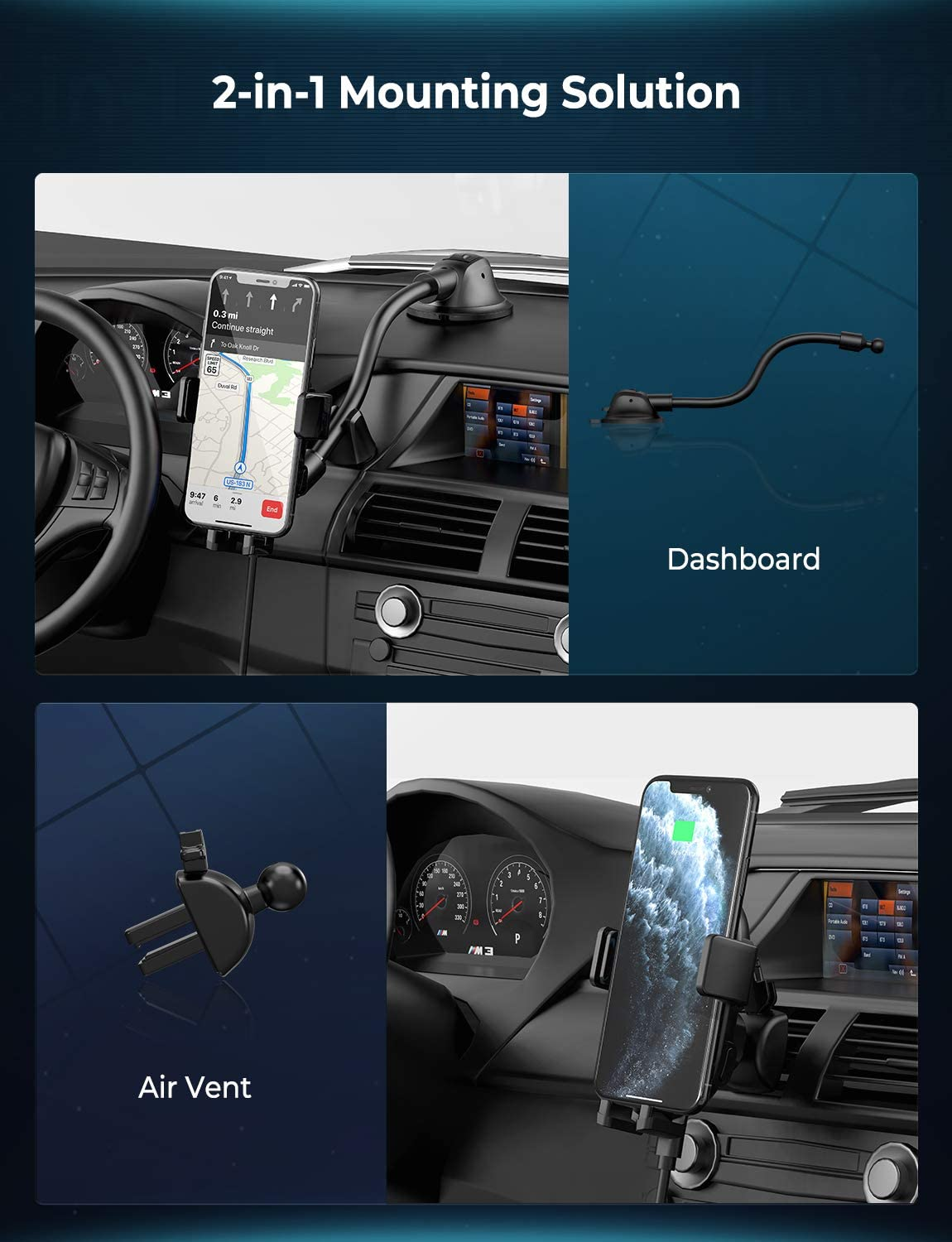 Galaxy Note 2-in-1 Auto-Clamping Car Phone Mount 10W//7.5W Qi Fast Charging Phone Holder Air Vent and Dashboard Car Mount Compatible with iPhone 11//11 Pro//Xs Max//XS//XR//X Mpow Wireless Car Charger