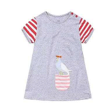 4142c2067e3 Little Girls Cotton Dress Short Sleeve Undershirt Casual Long Shirts  Cartoon Bird Jumper Skirt(Shown