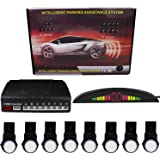 KIPTOP LED Display with 8 Parking Sensors, Car Vehicle Reverse Backup Radar System for All Cars (White)