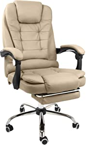 Halter Reclining Leather Office Chair - Modern Executive Adjustable Rolling Swivel Chair Headrest with Retractable Footrest (Tan)
