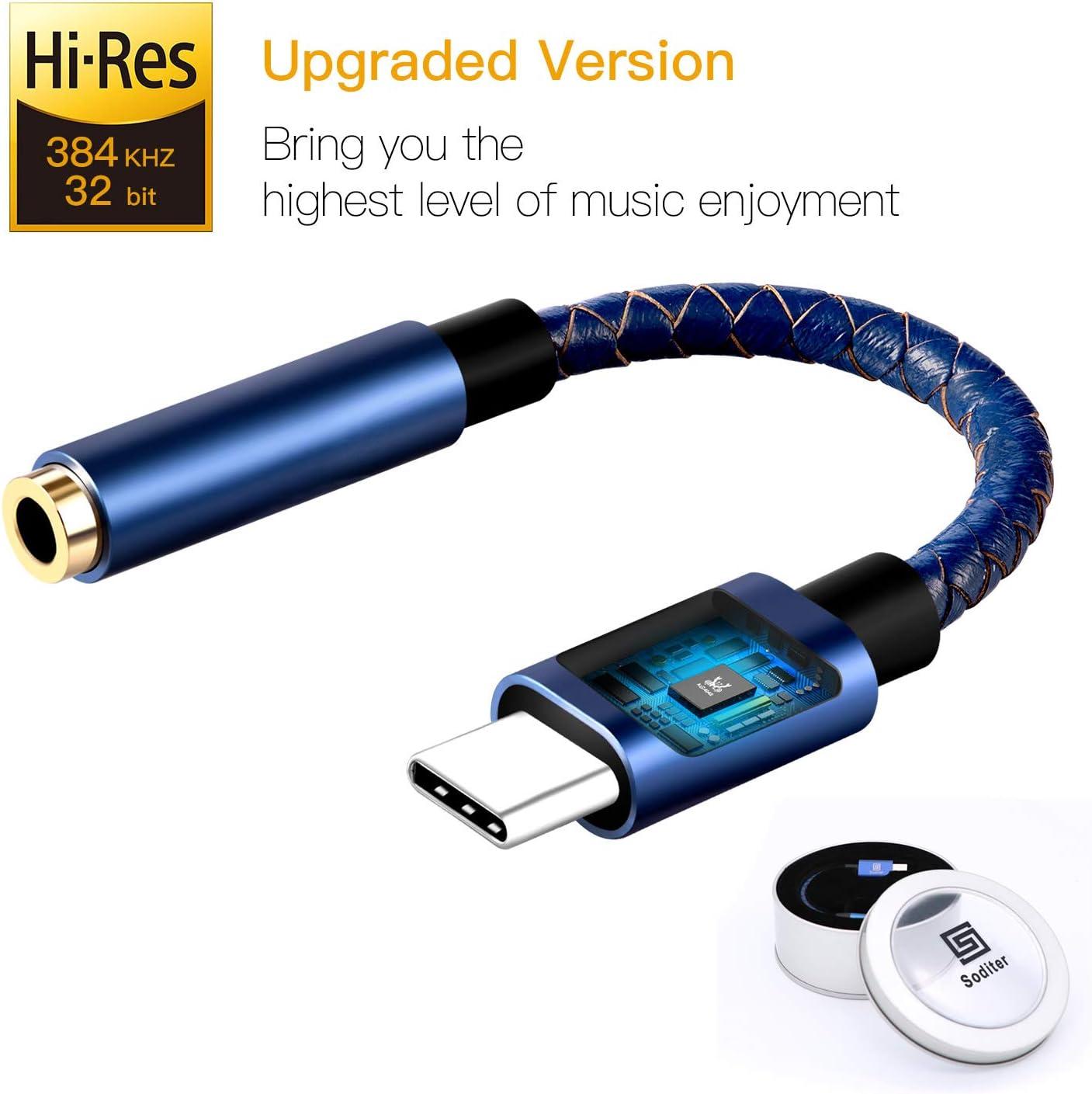 Soditer Pixel 2 Headphone Adapter,USB C to 3.5mm Adapter,USB C Dongle Headpone Jack Has Realtek DAC Hi-Res, Type c Earphone Convert for Pixel 2/2XL/3/3XL, MacBook 2017 IPad Pro 2018, Moto Z2, OnePlus