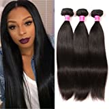 QinMei Brazilian Hair Straight 7A Grade 100% Unprocessed Virgin Human Hair 3 Bundles Weave Natural Color