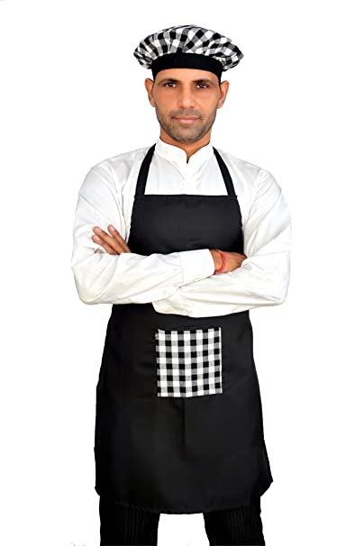 Switchon Waterproof Black Kitchen Chef's Apron with Cap