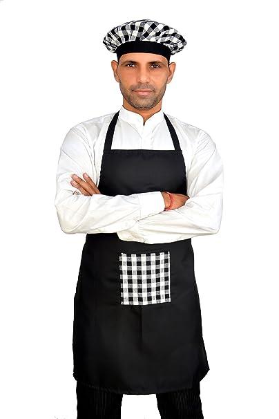 Switchon Waterproof Black Kitchen Chefs Apron with Cap