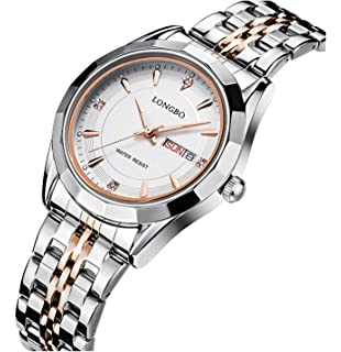 FANMIS Fashion Casual Silver Rose Gold Stainless Steel Strap Rhinestone Waterproof Calendar Quartz Women Watches White