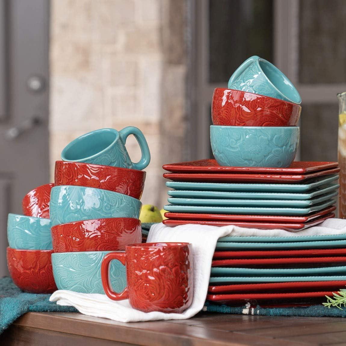 "HiEnd Accents Savannah 16-Piece Western Dinnerware Set, Dinner Plate-10.75"", Salad Plate-8.75"", Mug-16 oz, Soup Bowl-5.75"", Turquoise"