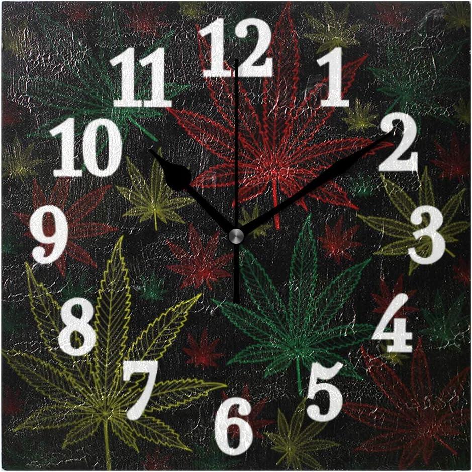Ahomy - Reloj de pared, cuadrado, hojas de marihuana, diseño de cannabis, colorido, para decoración en casa, oficina, sala de estar, dormitorio