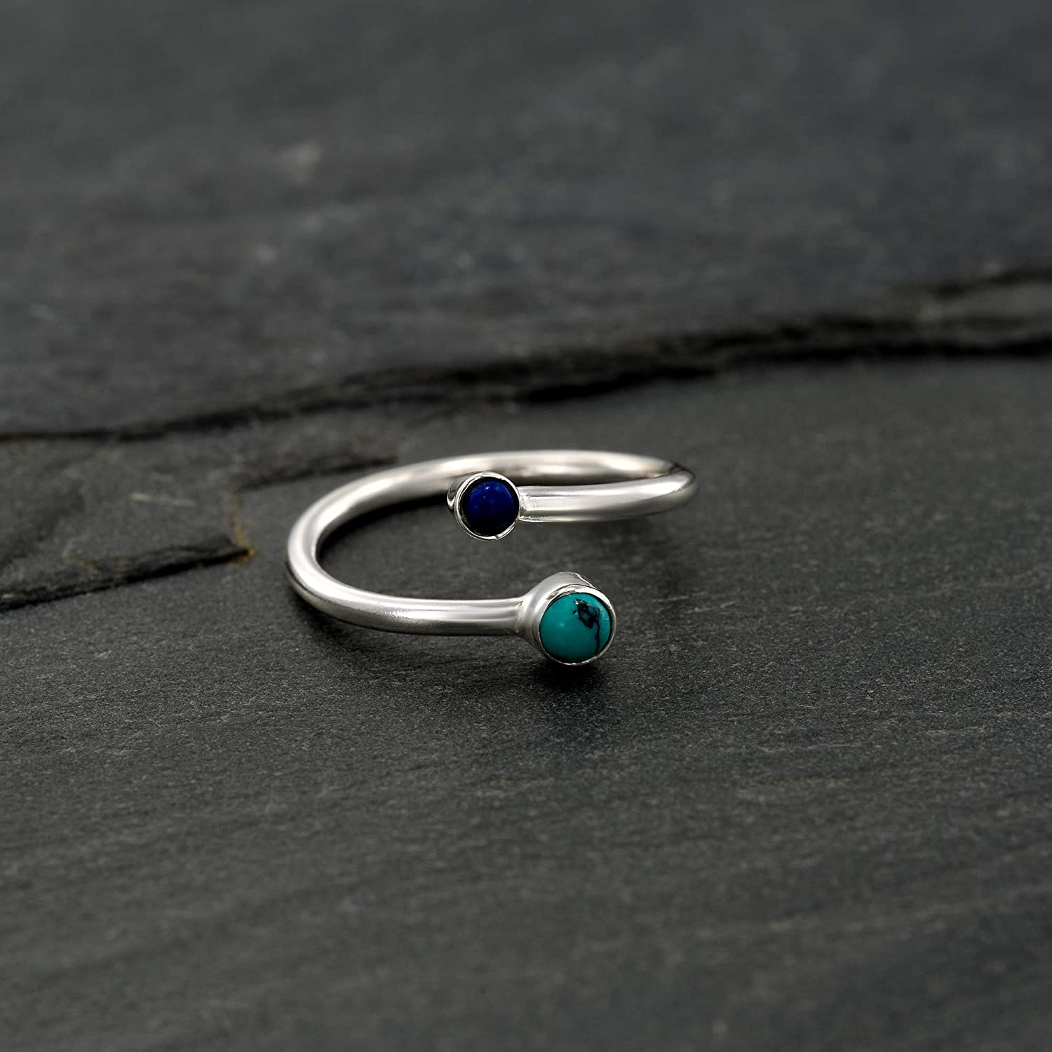 Handmade Boho Summer Wedding Accessories Sterling Silver Open Adjustable Foot OR Midi Knuckle Ring with Turquoise /& Lapis gemstones Toe Ring Unique Bohemian Beach jewelry