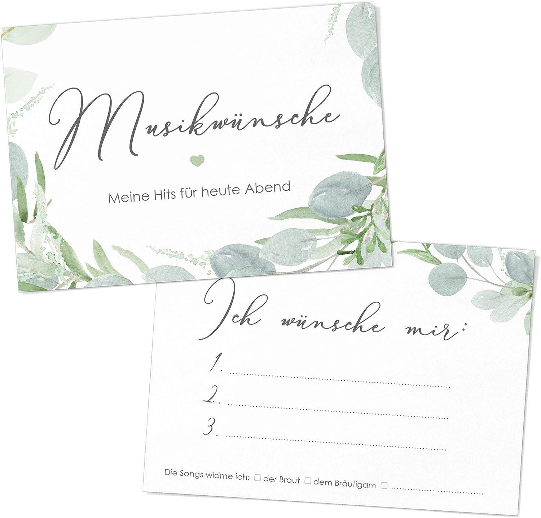 50 Musikwunschkarten Dj Karten Hochzeit Feier Party Eukalyptus Greenery Grün