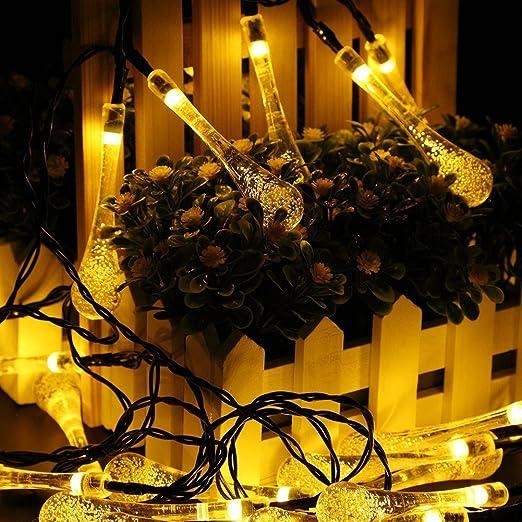 9 m 50 LED guirnalda luminosa (LED con energía solar Jardín gotas/LED decorativo impermeable para iluminación al aire libre, jardín, patio, Navidad, árbol de Navidad, fiestas, Blanco cálido: Amazon.es: Jardín