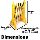 """Mobile Plastic Expandable Barricade System - Safety Barrier Gate- Yellow and Black - 38"""" Tall - 8' 4"""" Max Width BW4401"""