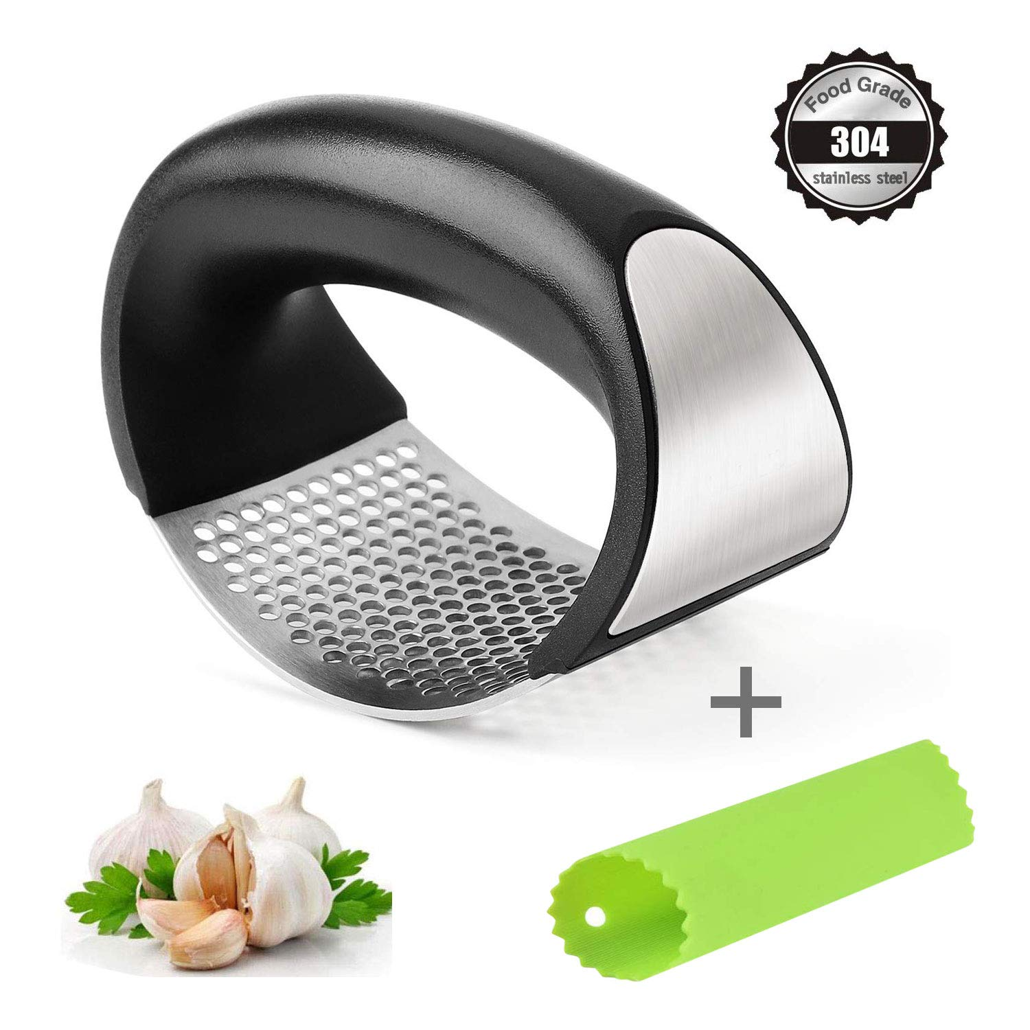 Vicious Teknology Garlic Press Rocker Stainless Steel Ginger Crusher Squeezer and Peeler Kitchen Tool Set, Professional Food Prep Grade,Rust Proof,Dishwasher Safe, Easy, 1Pack, Black by Vicious Teknology