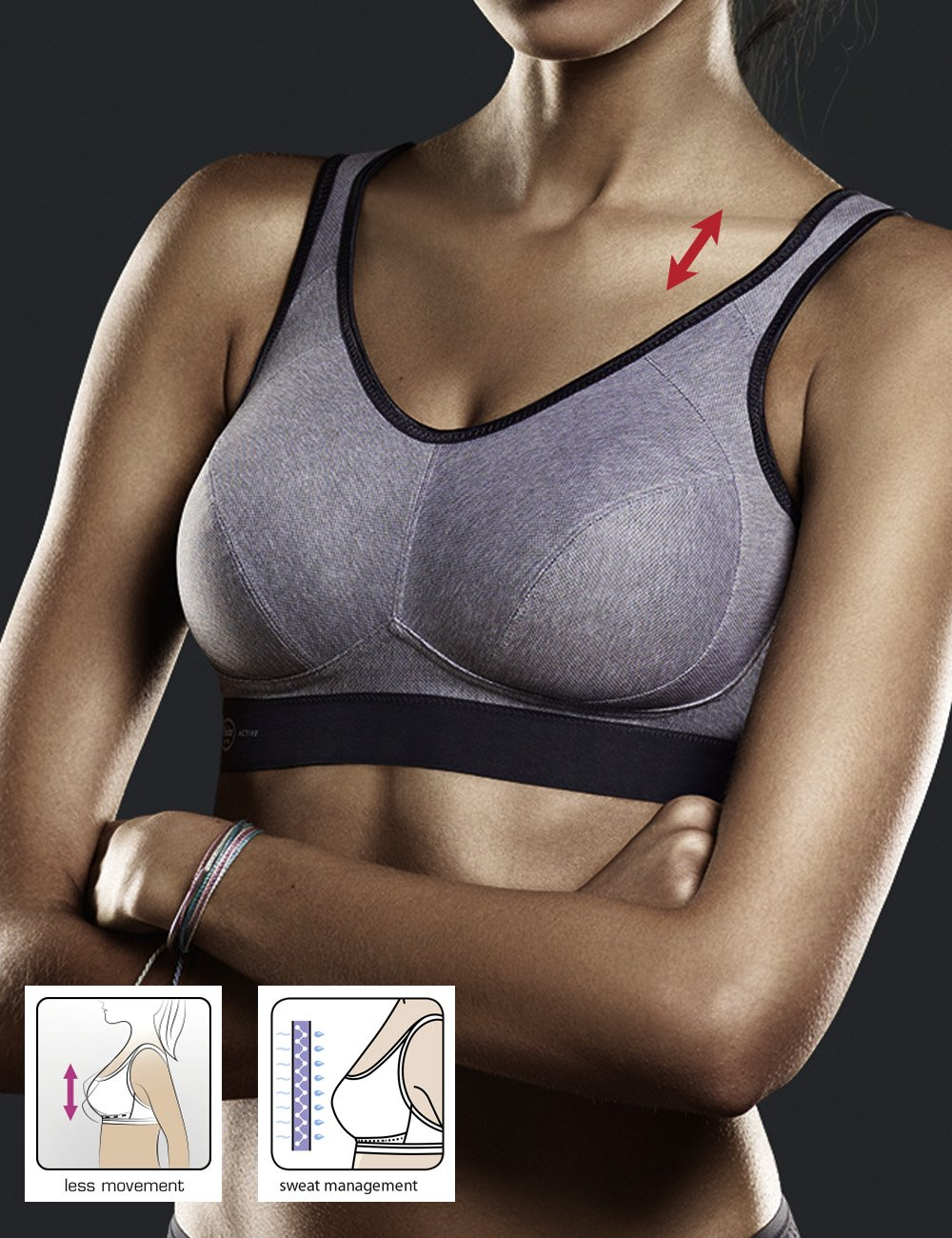 Anita Women's Extreme Control Soft Cup Sports Bra Heather Grey 30B by Anita (Image #3)
