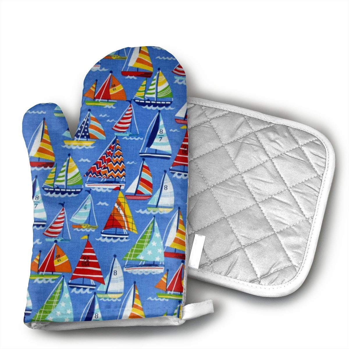 Ydsgjds Clear Sailing Sailboats Allover Blue Multi Oven Mitts and BBQ Gloves Pot Holders,Kitchen Gloves for Grilling Machine Baking Grilling with Non-Slip
