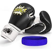 Letsgozzc Guantes de Boxeo para Niños con Diadema Deportiva, Regalos Cumpleaños Deporte Juguetes de 4-12 Años