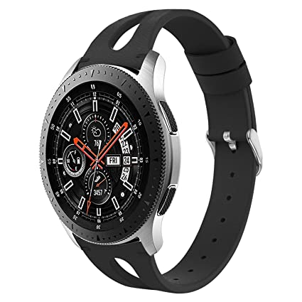 VODKE Compatible Samsung Galaxy Watch 46mm Bands & Gear S3 Frontier Bands,22mm Replacement Wristband Slim Leather Strap Replacement Bracelet ...