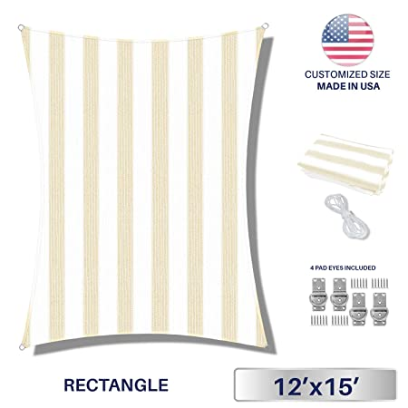 Windscreen4less Sun Shade Sail for Outdoor Patio Backyard UV Block Awning with Steel D-Rings 12ft x 15ft Beige White Wide Stripes Rectangle Included Free Pad Eyes – Custom Size
