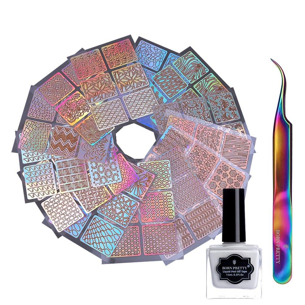 Born Pretty 24Sheets Nail Vinyls Laser Hollow Stencil Stickers, 15ml Peel Off Latex Liquid Tape and Tweezer