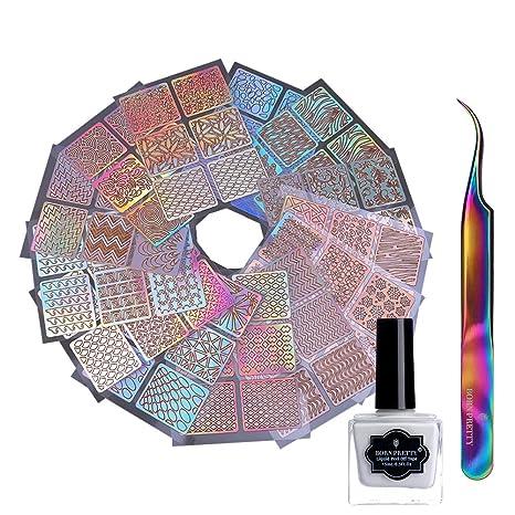 Born Pretty 24 Sheets Nail Vinyls Laser Hollow Stencil Stickers,15ml Peel Off Latex Liquid Tape And Tweezer by Born Pretty