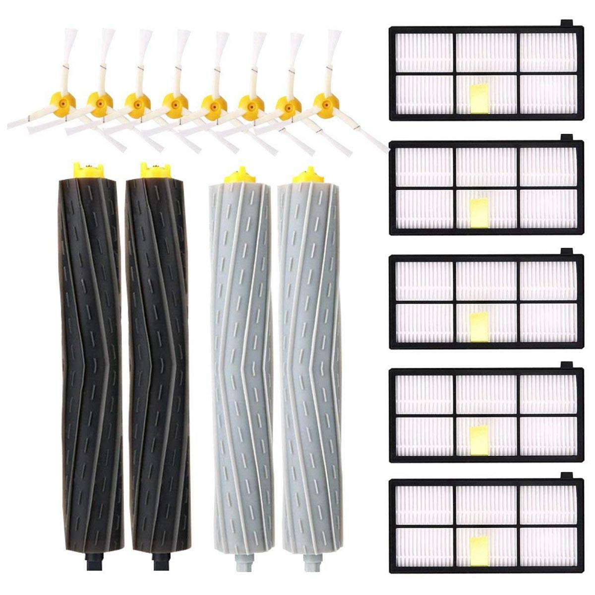 Toogoo Replacement Parts Kit iRobot Roomba 980 990 900 896 886 870 865 866 800 Accessories Kit 8 Side Brushes + 5 Filter + 2 Rollers
