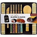 Soeos Beginner Sushi Making Kit-10 pcs, Bamboo Sushi Kit, Sushi Making Tool Gift Set, Included 2 Rolling Mats - 5 Pairs Chops