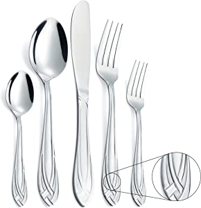 Silverware Flatware Set, SANYOU 20-Piece Stainless Steel Cutlery Set, Include Knife, Fork and Spoon, Service for 4, Safe in Dishwasher