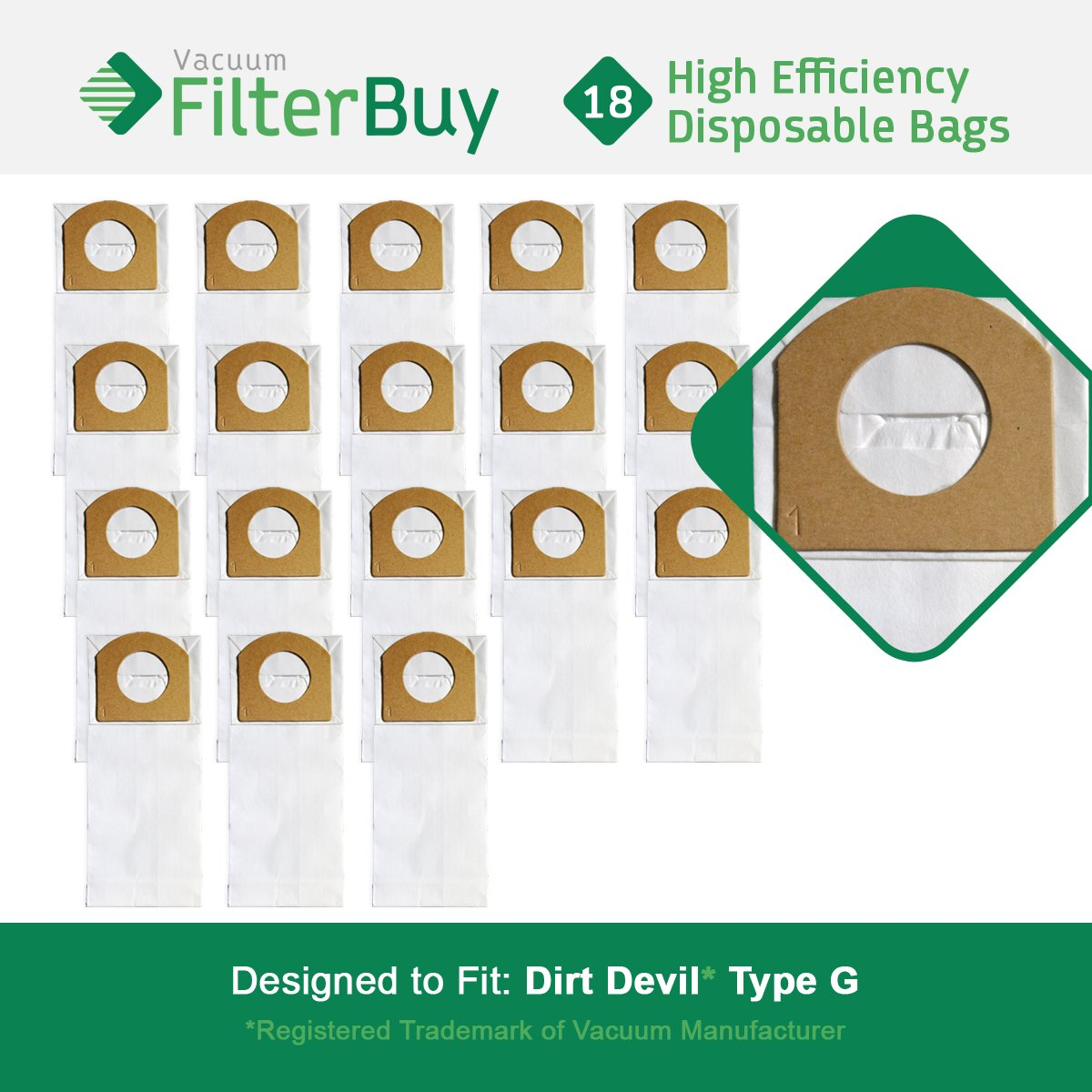 18 - FilterBuy Dirt Devil Type G Replacement Vacuum Bags, Part # 3010348001. Designed by FilterBuy to replace Dirt Devil Type G Vacuum Bags. LEPAC7440