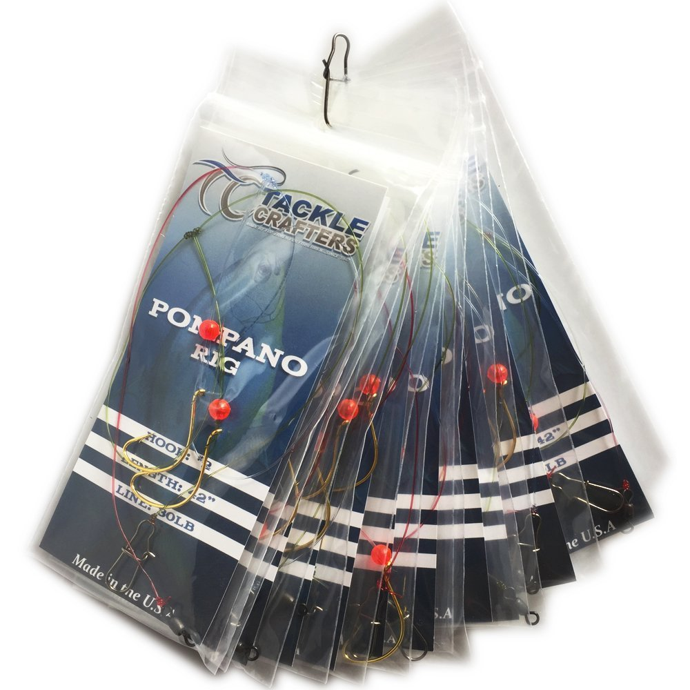 TACKLE CRAFTERS Saltwater Gear Surf Fishing 2 Hook Pompano Rig 12 Pack Made in The USA