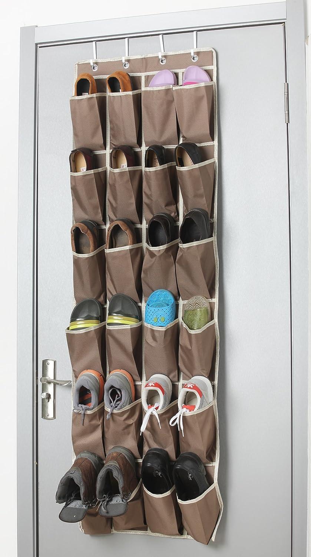 Over theドア靴オーガナイザー24ポケットと4カスタマイズover the door hooks ブラウン B01N7BL70W B01N7BL70Wブラウン