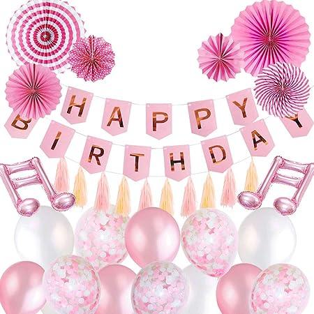 SPECOOL Decoración de Cumpleaños para Niña, Rosa Decoracion Globos Cumpleaños de Pancartas de Feliz Cumpleaños con Globos Rosados Fiesta Paper Fans ...