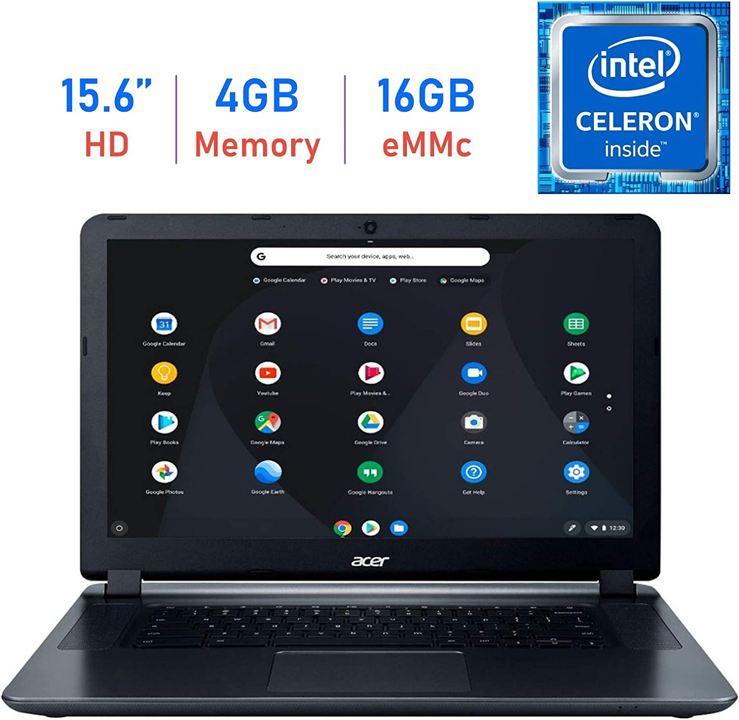 Acer Premium 15.6'' Chromebook HD ComfyView Display Laptop (Intel Dual-Core Celeron 1.6GHz, 4GB Memory, 16GB eMMC Storage, WiFi, Bluetooth, Webcam, HDMI, Up to 12 hrs Battery, USB 3.0, Chrome OS)