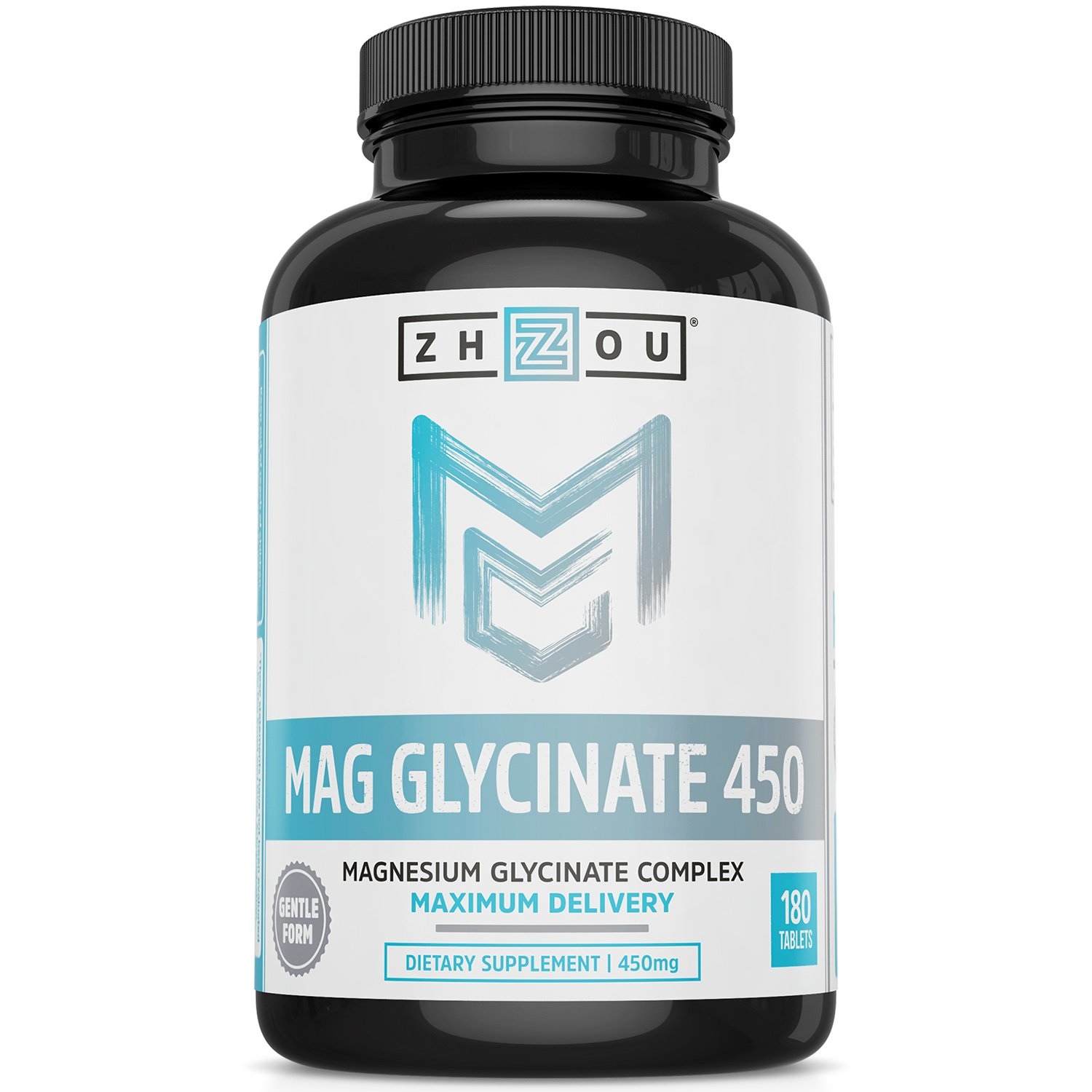 Zhou Nutrition Magnesium Glycinate Supplement, 450 mg, 5 Ounce