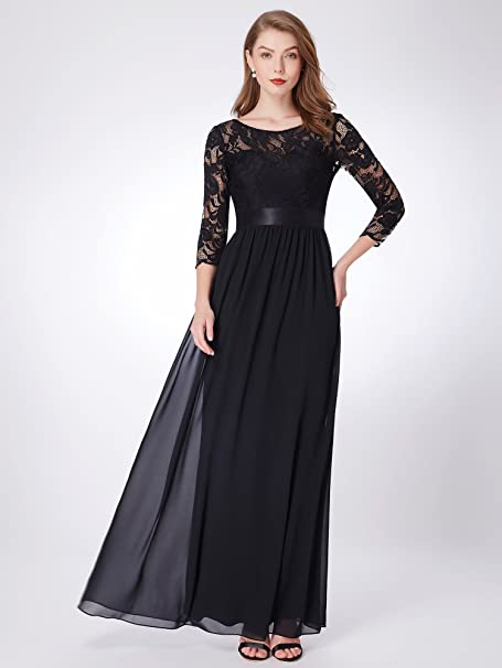 9f381c1fdd7 Ever-Pretty Women Elegant 3 4 Sleeve Empire Waist Maxi Bridesmaid Dresses  07412 at Amazon Women s Clothing store