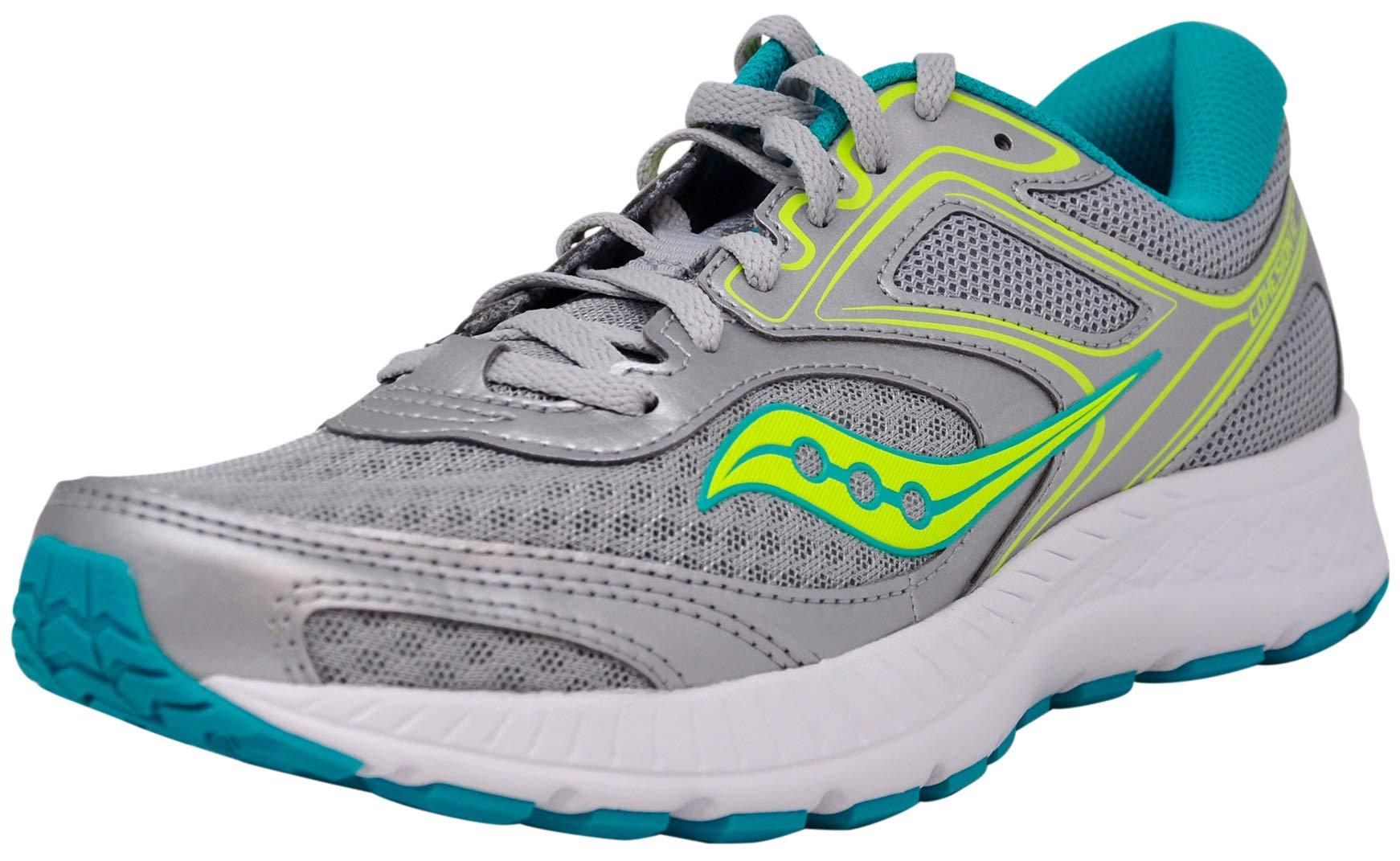 Saucony Women's VERSAFOAM Cohesion 12 Road Running Shoe, Silver/Mint/Citron 6 M US by Saucony