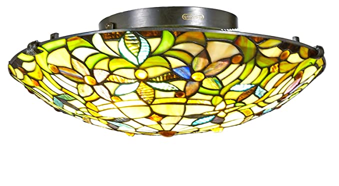 New Galaxy Lighting Tiffany Style Stained Glass Flush Mount Ceiling Tl16014 16 Inch
