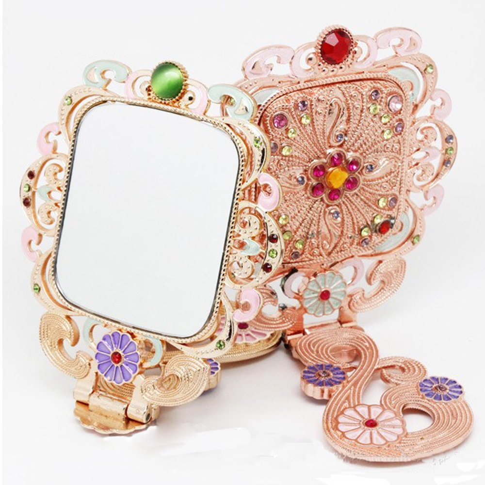 Art Deco Vintage Rehinstone Crystal Heirloon Iridescent Folding Hand Pocket Dressing Table Make Up Mirror