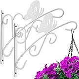 Amagabeli 2 Pack Hanging Plants Brackets 11'' Wall Planter Hooks Hanger Flower Baskets Pot Bird Feeder Wind Chimes Solar Lant