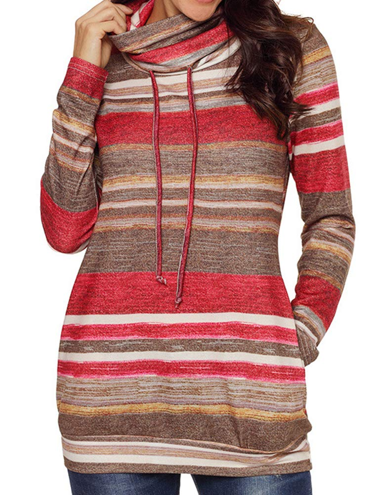 Bodycon4U Womens Striped Cowl Neck Drawstring Long Sleeve Pullover Sweatshirt Sweater Pockets Red XL by Bodycon4U (Image #4)