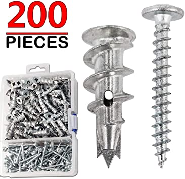 Ansoon Zinc Self Drilling Drywall Hollow-Wall Anchors with Screws Kit 200