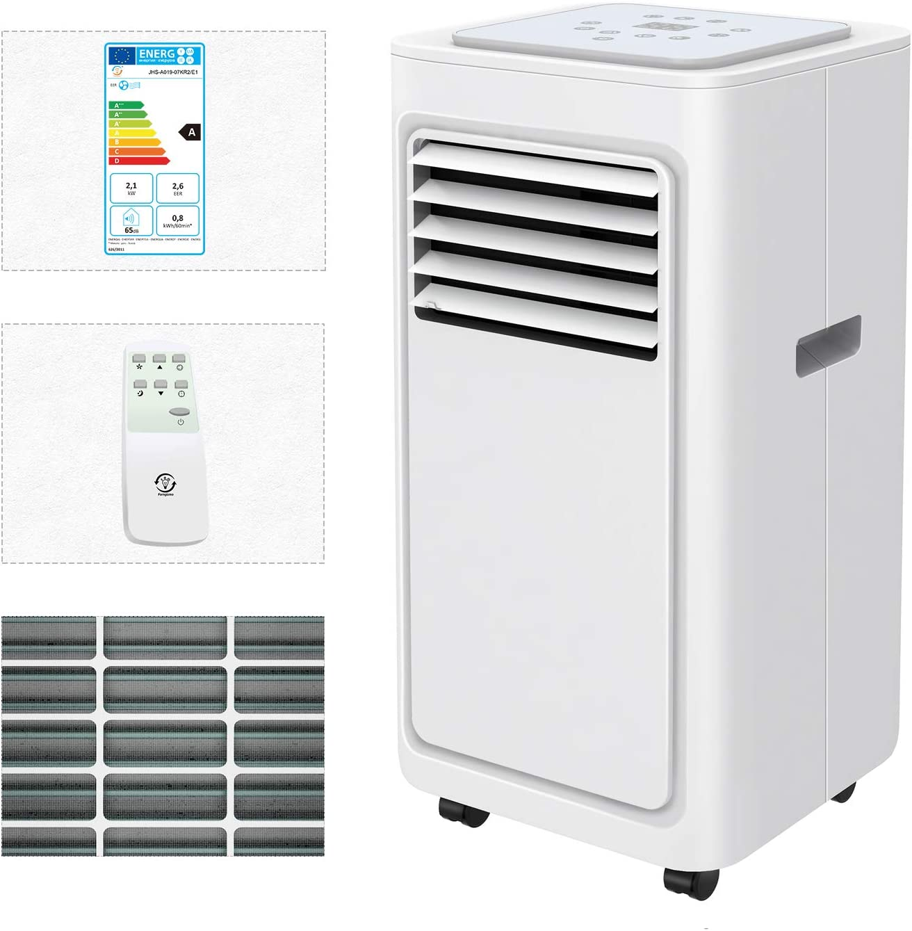 Energy Class A Remote Control Famgizmo Portable Air Conditioner Unit Dehumidifier LED Panel Display 9000 BTU 4in1 Air Conditioning with Air Cooler R290 24H Timer Fan /& Sleeping Mode